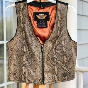 Harley Davidson Leather Python Zip Up Vest